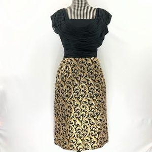 Vtg Miss Elliette CA Silk & Brocade Dress